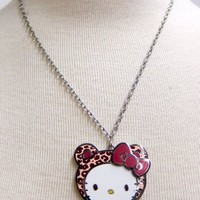 Leopard Hello Kitty Necklace