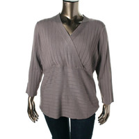 Style & Co. Womens Plus Knit V-Neck Knit Top