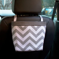 Car Headrest Caddy ~ Gray Chevron ~ Gray Band