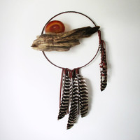 Large Dreamcatcher // Driftwood. Feathers & Crystals. One of a Kind Art.