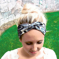 Twist Headband in Black and Gray Turban Headwrap for Women and Teen