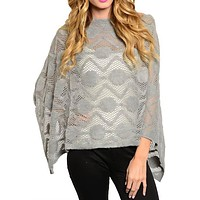 Knit and Faux Fur Poncho with Fringe (Grey)