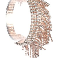 "rose gold crystal fringe 1.75"" dangle stretch bracelet bridal prom"