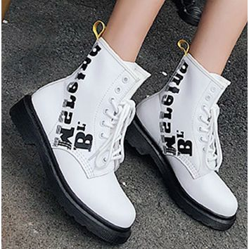 New leather ankle boots with 8-hole flat flats and high heels shoes
