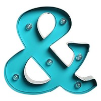 Apothecary Ampersand - Aqua LED Illuminated Marquee Sign Wall Decor - 8-in