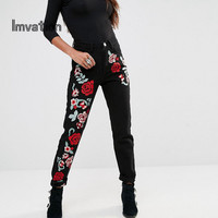 Imvation Women Embroidered Jeans Flower High Waist Jeans Ladies Ankle Length Pencil Jeans High Quality Denim Pants Mom Jeans