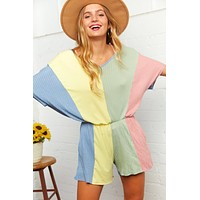 Vertical Color Block Romper with Pockets