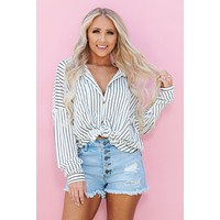 Trinity Button Up Top (White/Black)