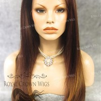 "24 inch Heat Safe Synthetic Straight Texture Lace Front ""Aphrodite"" in Reddish Medium Brown Mix"