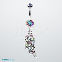 Sparkle Angelic Wing Belly Button Ring