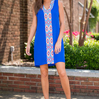 Find Your Center Stage Dress, Blue-Coral