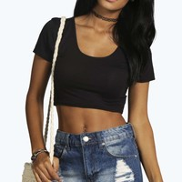 Beth Square Neck Basic Crop Top