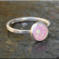 Pink Opal Stacking Ring, Simple Stacking Ring, Dainty Sterling Ring, Stackable Sterling Silver Ring, Silver Opal Stacking ring
