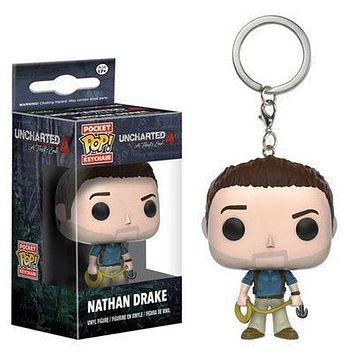 funko Pop Keychain Official Mysterious Sea Area Nathan Drake Cute Model Keyring Toys Gifts Collection|Action & Toy Figures
