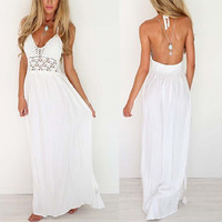 2017 New White Sling V-Neck Backless Sexy Party Dress Sleeveless Hollow Out Summer Women Beach Dresses Boho Long Maxi Sundress