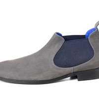 Valentine up to 20% off High Quality Nubuck Leather Men Grey Boots