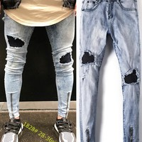 Blue Slim Ripped Holes Men Fashion Jeans [10869558211]