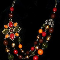 """Fall Flower 3 Strand Necklace Red Green Orange Thermoset Beads Bronze metal 20"""" Vintage 1990s"""