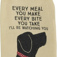 Every Bite I'll Be Watching You Dog Funny Snarky Dish Cloth Towel / Novelty Silly Tea Towels / Cute Hilarious Farmhouse Kitchen Hand Towel