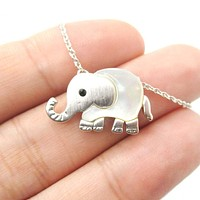 Baby Elephant Shaped Animal Charm Necklace in Silver with Pearl Detail