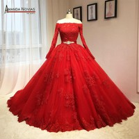 Newest Red Wedding Dress Puffy Ball Gown Long Sleeves Patterns