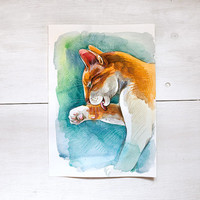 Ginger cat washes paw Digital Download Art printable, orange and blue animal art, watercolor painting for cat lovers, art craft supplies