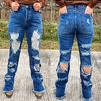 Double distressed jeans (Dark wash)