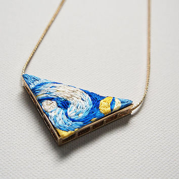 Handmade Van Gogh The Starry Night Embroidered Pendant with Long Necklace, Handmade Jewelry, Embroidered Jewelry, Embroidery, Christmas Gift