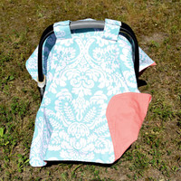 Floral Car Seat Canopy Turquoise Coral White Damask Nursery Whimsical Party Gift for Baby Girl or Boy Canopy for Infant Christmas