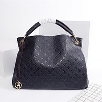 LV Louis Vuitton vintage embossed letters ladies large-capacity shopping shoulder bag handbag Dark blue