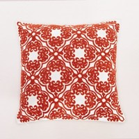 Red Embroidered Lattice Classic Decorative Cushion Throw Pillow 18x18 Inch with Zipper, Fills Included, by Calla Angel
