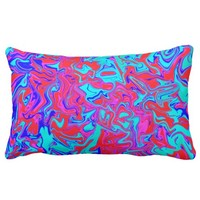 Blue and red psychedelic throw pillow