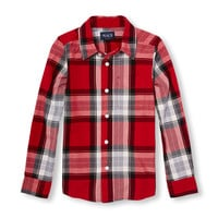 Boys Long Sleeve Plaid Poplin Button-Down Shirt | The Children's Place