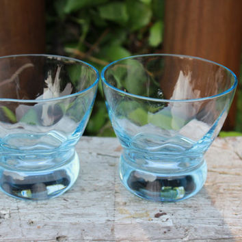 Vintage light blue swirl rocks glasses, retro whiskey glasses/ shot glass, scotch glasses, vintage glassware, MOD bar cart cocktail glasses