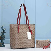 Onewel Coach Bag Women Shoulder Bag Shopping Bag CC Print Bag Apricot