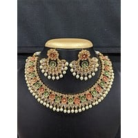 Pearl bead dangle Polki stone pasted choker necklace and earrings set