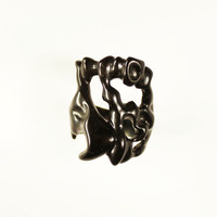Father day gift OOAK black horn ring Hand Carved bone ring Natural band Everyday ring Avant garde ring Men's jewelry Gypsy Hipster Bohemian
