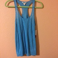 Blue Animal Print Mesh Tank Top By Energie Size L