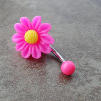 Hot Pink Fushia Daisy Flower Belly Button Ring Jewelry
