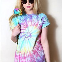 Rainbow Spiral 90's Style Tie Dye T-Shirt - Choose your size from Onceuponatime