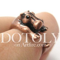 Miniature Baby Hippo Animal Wrap Around Ring in Copper - Sizes 5 to 9