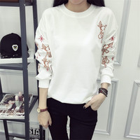Embroidered Loose Hoodies Sweater Pullover Long Sleeve for Women Teen Girls