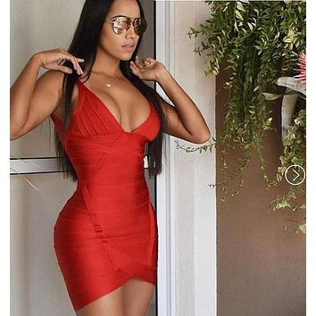 Delia- Red V-Neck Bandage Mini Dress