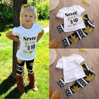 Children Clothes Sets 2pcs Toddler Kids Baby Girls Outfit Clothes Arrow Striped Cotton T-shirt Tops + Pants Trousers 2PCS Girl