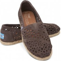 TOMS Grey Moroccan Cutout Women's Classics Slip-on Shoes,