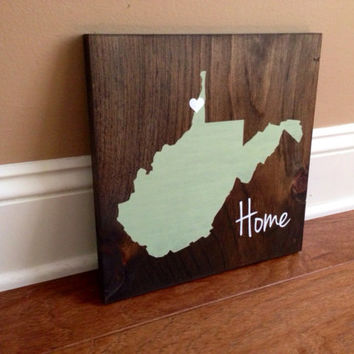 West Virginia Wood Sign, Custom West Virginia Sign, Stained and Hand Painted, Personalize, West Virginia decor