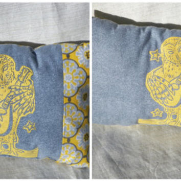 Decorative Pillow for Baby Nursery Owl Plays the Lute Yellow and Gray Your Choice of One