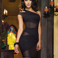 Oblique Shoulder Mesh Accent Bodycon Mini Dress