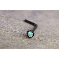 White Opal Black Nose Ring L Bend