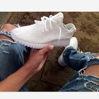 Adidas Women Yeezy Boost Running Sneakers Sports Shoes White